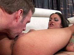 Angelina Valentine is a nasty babe with a banging body. Check out this hardcore video where this famous pornstar deep throats and is fucked hard by a large cock before swallowing a big load of cum.