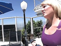 Casey Cumz gets her mouth attacked by guys rock solid schlong