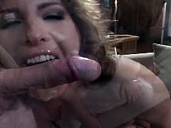 Make sure you don't miss this horny milf having fun with three big cocks. She knows all about double blowjobs and wants them to switch turns and fuck her hard!