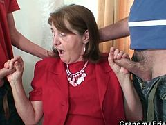 This hot granny was supposed to lead interviews, but when two unqualified young guys showed up, they have her what she needed the most. They shagged her for the job.