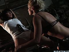 This spoiled brunette wench is tied up and completely at the mercy of her mistress's sadistic whims. Make sure you don't miss this wild BDSM sex scene.