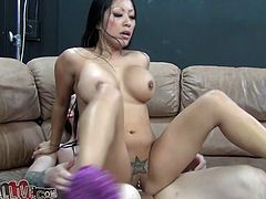 Asian girl stands on her knees and sucks big dick putting it deep in her mouth. After that she rides a Sybian saddle and gets fucked hard.