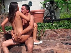 Slim sexy teen whore with small perky tits is moaning wild jumping on a strong prick outdoor. Then the couple takes doggy position getting hammered hard from behind. Super hot and exciting doggy style fuck scene presented by Mofos Network.