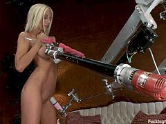 Superb Puma Swede strips her clothes off and shows her perfect body. Later on she lies down on a sofa and gets her insatiable pussy toyed by the fucking machine.