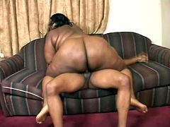 BBW babe Nomi sucks and rides a hard cock in her free time. She sucks the cock first then she gets it in her dark skinned pussy till the guys cums.