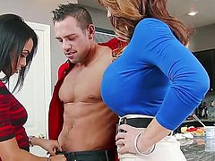 Cute slender hottie and her heavy chested mother Deauxma and Gulliana Alexis seduce confused Johnny Castle with perfect firm body and fuck with him like pros all over the kitchen.