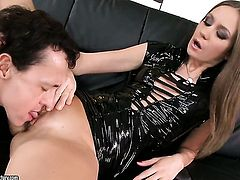 Brunette Sweet Lana gets her mouth attacked by guy's throbbing love wand