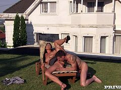 Adorable brunette Simony Diamond is getting naughty with some man in the yard. She pleases him with a blowjob and then gets her holes smashed and her tits covered with jizz.