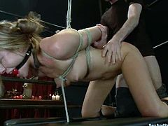 Superb blonde girl with perfect body gets blindfolded and gagged. After that she gets her pussy fisted and stuffed with a metal pipe. Then she also gets fucked.