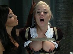 Holly Heart and her hot blonde GF are playing BDSM games with Isis Love. They allow the mistress to tie them up and then ride fucking machines and get their vags smashed with dildos.