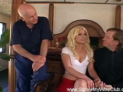Husbands bring their wives to get screwed and they get to watch, cool huh? Don't miss this super hot scene as slutty wide is fucked hard and deep till orgasm while hubby observes the whole thing.