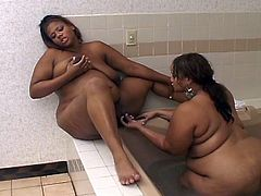 Watch two nasty ebony plumpers as they munch and finger their sweet pink cunts in the tub in this awesome lesbian video. These fatties have more meat to play with.