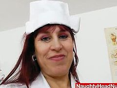 We brought you guys a sexy and really horny mature nurse called Darja! Darja is a busty redhead mature, who happens to be a head nurse, and that is basically all we want to hear! In her video, this sexy redhead wears lacy stocking with white nurse uniforms and a cute nurse hat to make the sight even better! This video is a really great nurse fetish material, that will satisfy every nurse fetish lover! This redhead slut not only poses with those huge tits, but she does all kinds of kinky action like fingering and playing with a speculum so you'll get a really great sight in this nurse fetish sc