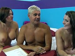That man's name is Porno Dan and he enjoying his time with two smoking hot and naked angels at his age. It's a fucking dream for most of his aged fellas.