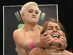 Isis Love is one of the best fighters in Ultimate Surrender but she does not have even a chance against Syd. So, Isis gets her vagina toyed deep and hard with a strap-on by Ms Blakovich.