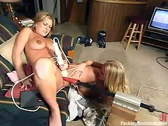 Two lusty and slender blond chicks Avi Scott and Kylie Wilde are using some toys for their lesbian fantasies. That fucking machine is in the list of their toys!