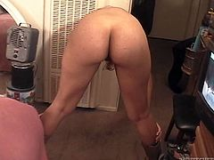 Enjoy watching one hot tempered chick who shakes her beautiful ass in front of a cam. She is posing in front of one old dude and she is about to have some dirty fun with him.