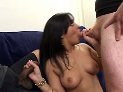 Awesome natural tits looks perfect on that lovely girl and she is ready for hardcore fucking and cock sucking at same time and facial after that.