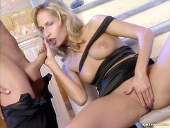 Two pretty blondes Eva Falk and Sophie Evans are having fun with some man indoors. They show him their nice cock-sucking skills and then welcome his manhood in their juicy coochies.