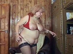 This fat European granny is still acting like a whore. She takes a young cock in her shaven cock and enjoys it to the maximum. She's good at sucking cock too.