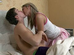 Slim and hot blonde girl in a miniskirt kisses with her boyfriend and gets a rimjob. After that she gets rammed in the ass.