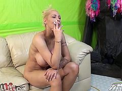 Busty blonde milf Candy Manson is having fun with some dude indoors. The guy pets Candy and then smears her boobs with whipped cream and fucks her vag in missionary position.