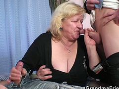 Granny gives double blowjob and gets doggystyled in this nasty old-young threesome scene. Watch as horny grandma gets super dirty and does all kinds of nasty shit.