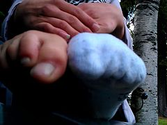 Sexy French girl Removes her sweaty socks, show smelly feet