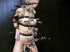 This smoking hot and desirable siren Kaylee Hilton is being tortured in a very refined way! She gets twitched and bondaged in chains!