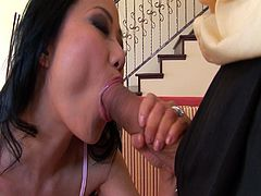 Niya Yu is a good-looking Asian milf. She gets a massive cock to play with and her snatch becomes really when when its inside it. His cock barely fits in her mouth.