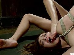Two gorgeous babes get hog tied and toyed by their mistress