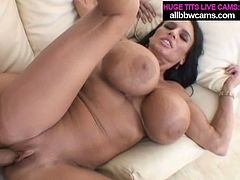 Torrid dark head mom with monster size boobs is getting pounded deep in her cunt from behind. Then she bounces her ass and boobs riding solid prick on top.