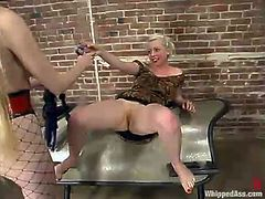 Sexy dominatrix Chanta-Rose is having fun with Lorelei Lee in a cellar. She makes Lorelei lick her vag and then whips her cunt with a lash.