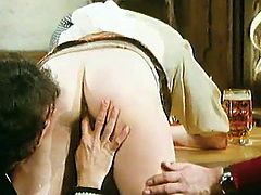Alluring slut with hairy twat gets fucked hard in nasty vintage hardcore porn scene