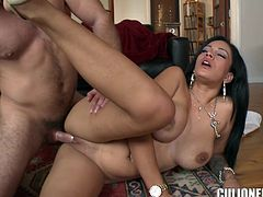 Sexy brunette Jamie Valentine shows her huge tits to some dude and turns him on. Then she drives him crazy with a deepthroat blowjob and they fuck in cowgirl and other positions afterwards.