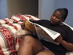 These two lesbian ebony plumpers are feeling the heat today. See them making out and dildoing their hot pussies before playing rough with  their big round tits.