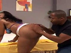 That's how black people love having sex! This smoking hot ebony babe gets naked and blows that hard black monster cock so that it gets hard and ready to fuck her!