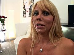 Busty blonde milf goes naughty with her step son's huge dick