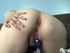 Very sexy Asian cutie Hermine toying her shaved pussy