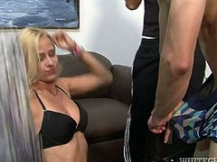 This blonde nympho knows what hardcore sex is all about. Shapely nympho gets her pussy filled with dick but she has two more throbbing cocks to handle in this breathtaking sex video.