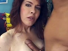Busty milf in sexy stockings enjoys big cock drilling her hairy twat in pure hardcore