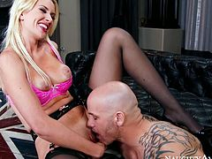 Full of lust blonde hoochie Gigi looks fine in her black stockings. Bald dude polishes her cunt with his tongue before Gigi mounts his meat pole like a cowgirl.