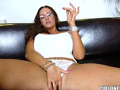 Strict MILF with juicy boobs gives blowjob & titjob combo. Later on she gets her ass licked and pussy fucked hard. The guy also cums on her face and glasses.