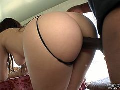 First, she sucks on his large chocolate stick and takes it to the bottom! Then her ass is about to be shaken when he sticks it in her tight pussy from behind