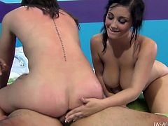 Two adorable dark-haired girls are having fun with some guy indoors. They jump on his prick by turns and can't help but moan sweetly with pleasure.