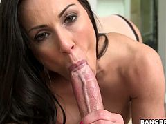 This mommy's going to give you one hell of a boner with this hot POV. Get a load of this milf's big tits and firms ass after she takes off her clothes to suck on this guy's big cock.