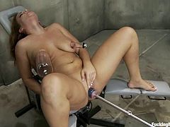Stunning Natasha Nice takes her uniform and lingerie off. Then she gets her pink pussy drilled deep and hard. In addition she fixes claws to her nipples.