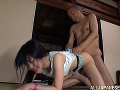 Horny and gorgeous asian slut with natural tits and sweet pussy getting licked and fucked by an older man in her Tokyo bedroom.