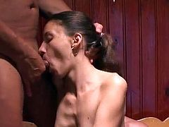 Young Maria feels intense pleasure along two large dicks during threesome