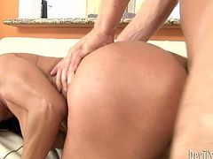 Hussy brunette chick spiced up with enormous size big boobs rides well endowed dude reverse. His meaty cock penetrates her slit and she rubs her clit for the best ever orgasmic effect.